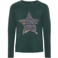 NAME IT Sequin Embellished Long-sleeved T-shirt Women Green