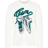 NAME IT Fuzzy Letters Long-sleeved T-shirt Men White