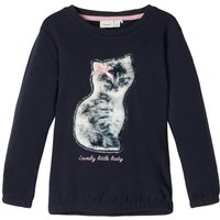 NAME IT Faux Fur Cat Applique Sweatshirt Women Blue