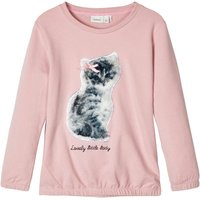 NAME IT Faux Fur Cat Applique Sweatshirt Women Pink