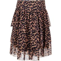 NAME IT Tiered Sheer Mini Skirt Women Brown
