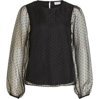 VILA Dotted Balloon Sleeved Party Top Women Black