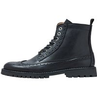 SELECTED Leder Brogue Stiefel Men Black