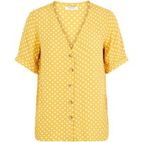 PIECES Button-up Viscose Blouse Women Brown; Yellow