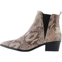 PIECES Snakeskin Embossed Leather Ankle Boots Women Beige
