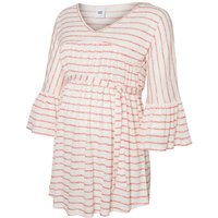 MAMA.LICIOUS Striped 3/4 Sleeved Maternity Top Women White