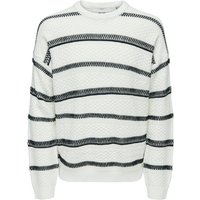 ONLY & SONS Gestreifter Strickpullover Men White