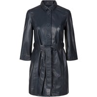 Y.A.S Tie Belt Leather Jacket Women Blue