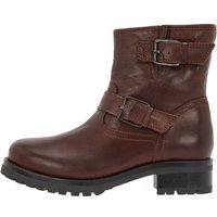 BIANCO Leder Motorrad Ankle Boots Women Brown