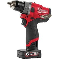 Milwaukee Power Tools M12 FPD 602X FUEL  Sub Compact Percussion Drill 12V 2 x 6 0Ah Li ion