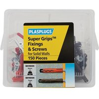 Plasplugs Super Grips��� Fixings & Screws Kit for Solid Walls, 150 Piece