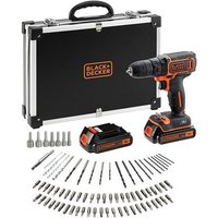 Black  amp  Decker BDCDC18BAFC GB 18V Lithium ion Drill Driver with 2 Battieries  fast charger and 80 accessories in storage case