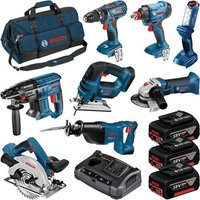 Bosch 0615990K9G 18 Volt 8 Piece Professional Power Tool Kit, 3 x 4.0Ah Batteries