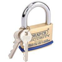 Draper Solid Brass Padlock andamp; 2 Keys with Mushroom Pin Tumblers Hardened Steel Shackle andamp; Bumper, 60mm