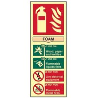 Scan Fire Extinguisher Composite Foam - Photoluminescent 75 x 200mm