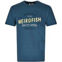 Weird Fish Heritage Applique & Graphic Print Cotton T-Shirt Dark Blue Size 5XL