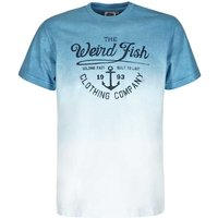 Weird Fish Holding Fast Dip Dye & Graphic Print Cotton T-Shirt Royal Blue Size 4XL