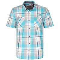 Weird Fish Pursan Cotton Short Sleeve Check Shirt Blue Atoll Size XS