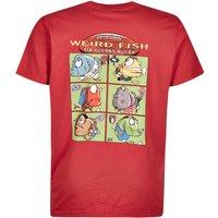 Weird Fish Six Oceans Cotton Printed Artist T-Shirt Red Size 2XL