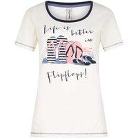 Weird Fish Flip Flop Graphic Print Cotton T-Shirt Light Cream Size 16