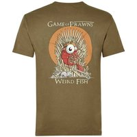 Weird Fish Game Of Prawns Printed Artist T-Shirt Military Olive Marl Size L