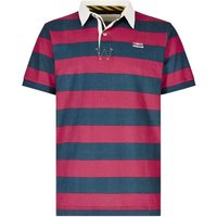 Weird Fish Straits Printed Stripe Rugby Shirt Barberry Red Size M