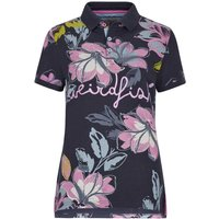 Weird Fish Roselea Printed Polo Shirt Navy Size 18