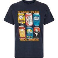 Weird Fish 6 Pack Beer Cans Artist T-Shirt Navy Size S