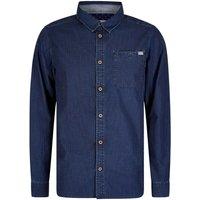 Weird Fish Trigger Geo Print Long Sleeve Shirt Ensign Blue Size XS