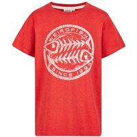 Weird Fish Heritage Surf Graphic Print T-Shirt Dark Red Marl Size 11-12