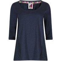 Weird Fish Saffron 3/4 Sleeve Embroidered T-Shirt Dark Navy Size 20