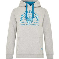 Weird Fish Bellicose Graphic Print Brushed Back Hoody Grey Marl Size S