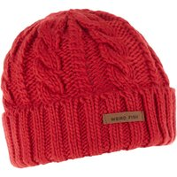 Weird Fish Denver Cable Knit Beanie Dark Red Size ONE