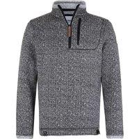 Weird Fish State 1/4 Zip Soft Knit Fleece Sweatshirt Black Size S