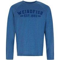 Weird Fish Afflek Long Sleeve Graphic Print T-Shirt Washed Blue Marl Size 3XL