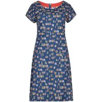 Weird Fish Tallahassee Printed Cotton Jersey Dress Navy Size 16