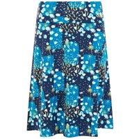 Weird Fish Malmo Printed Jersey Skirt Blue Sapphire Size 14
