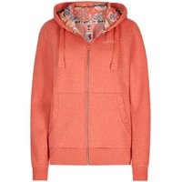 Weird Fish Taloga Print Lined Full Zip Hoodie Tango Red Size 20