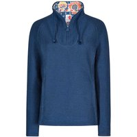 Weird Fish Constantine Print Trim 1/4 Zip Classic Macaroni Sweatshirt Dark Denim Size 20
