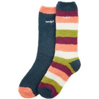 Weird Fish Park Fluffy Sock 2 Pack Dusty Teal Size 4-7