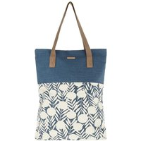 Weird Fish Elena Printed Cotton Shopper Bag Dark Denim Size ONE