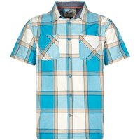 Weird Fish Trevelyan Micro Sanded Short Sleeve Check Shirt Bright Blue Size 2XL