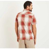 Weird Fish Trevelyan Micro Sanded Short Sleeve Check Shirt Baked Apple Size 2XL