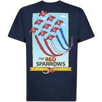 Weird Fish Red Sparrows Artist T-Shirt Maritime Blue Size M