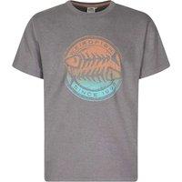 Weird Fish Gradient Bones Graphic Print T-Shirt Pewter Marl Size 3XL