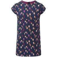 Weird Fish Tally Ho Printed Jersey Dress Dark Denim Size 9-10