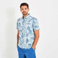 Weird Fish Harris Button Down Printed Denim Short Sleeve Shirt Denim Blue Size 5XL