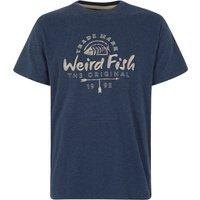 Weird Fish Stitch Up Branded Graphic T-Shirt Black Iris Marl Size M