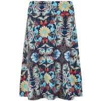 Weird Fish Malmo Printed Jersey Skirt Scandi Blue Size 16