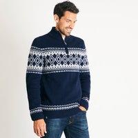 Weird Fish Gallen Lambswool Blend Knitted 1/4 Zip Jumper Dark Navy Size XL